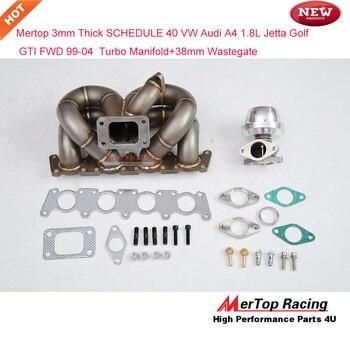 Mertop Race 3mm Thick schedule 40 Turbo Manifold For 99-04 VW Audi A4 1.8L Jetta Golf GTI FWD Turbo Header+38mm Wastegate header civic eg