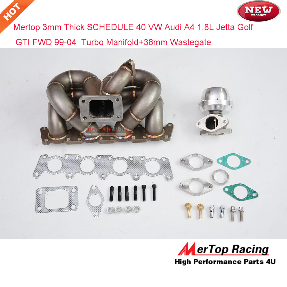 Mertop Race 3mm Thick Schedule 40 Turbo Manifold For 99 04 VW Audi A4 18L Jetta Golf GTI FWD Header 38mm Wastegate In Turbocharger From Automobiles