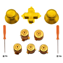 Golden Metal Thumbstick Joystick Analog Cap Bullet ABXY Guide Button D-Pad Dpad Button Screw Driver For Xbox one Controller