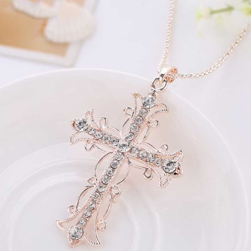 Fashion Long Chain Choker Necklaces Shellhard Charming Crystal Cross Pendant Necklace Femme Bijoux For Women Jewelry Gift