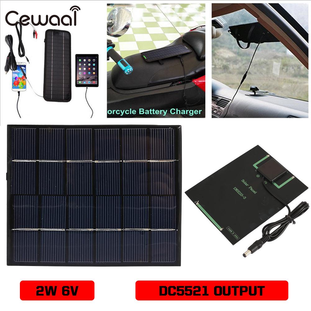 Solar Charger Pane 2W 6V Portable Solar Light Solar Generator 3.7V-6V Travel Solar Panel Polysilicon