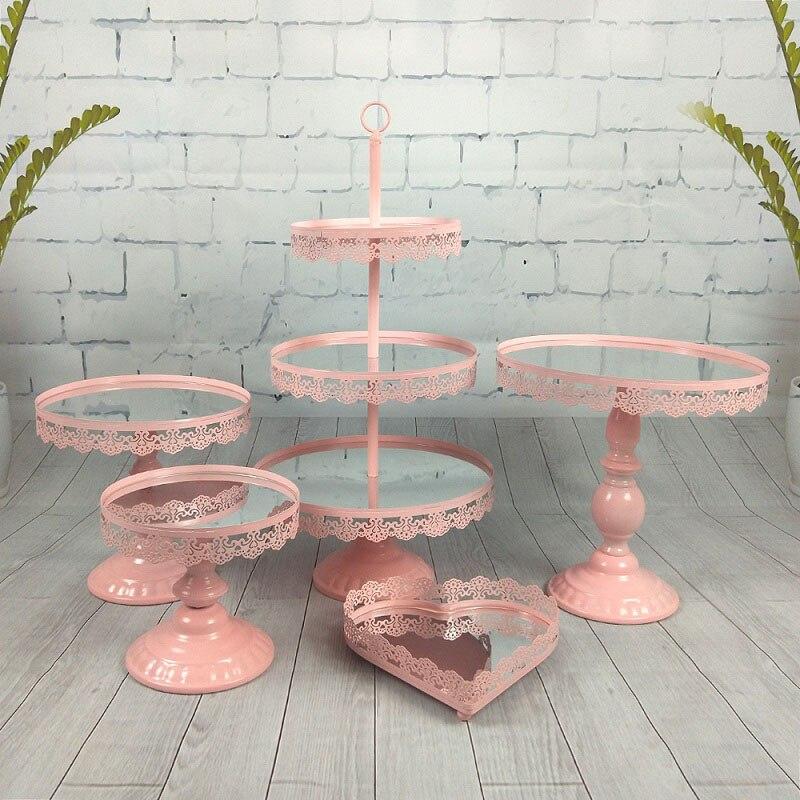 5 pièces dans l'ensemble miroir surface top gâteau support ensemble cupcake support table décoration or blanc rose argent