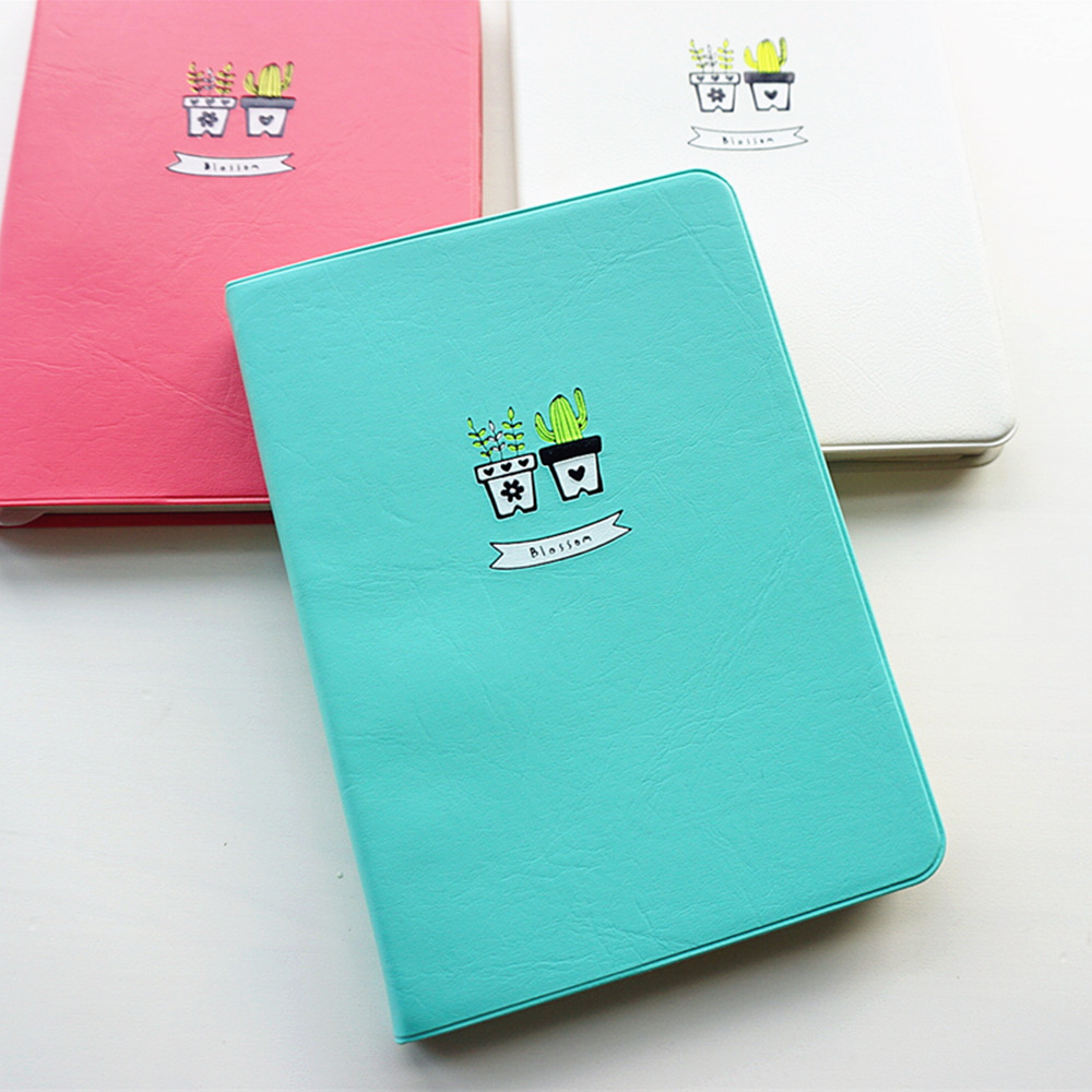 """Smile Cactus"" Faux Leather Monthly Weekly Planner Gullig Agenda Scheduler Any Year Dagbok Journal Study Notebook"