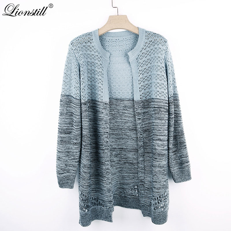 Spring Women Cardigan Knitted Fashion Hollow Out Long Shirt Casual Hit Color Loose Outwear Long Sleeve Sweater Blouse