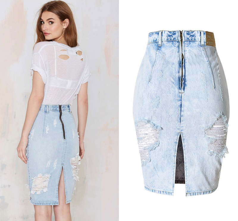 cfb4b0bec10 Aliexpress.com   Buy Fashion Casual Distressed Plus Size Denim Skirt Sexy  Ripped High Waist Skirts Back Slit Jupe femme from Reliable denim skirt  suppliers ...