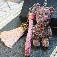 Горный хрусталь мультфильм медведь брелок автомобиль кисточкой кольцо держатель подвеска для сумки Шарм Chaveiro llaveros mujer