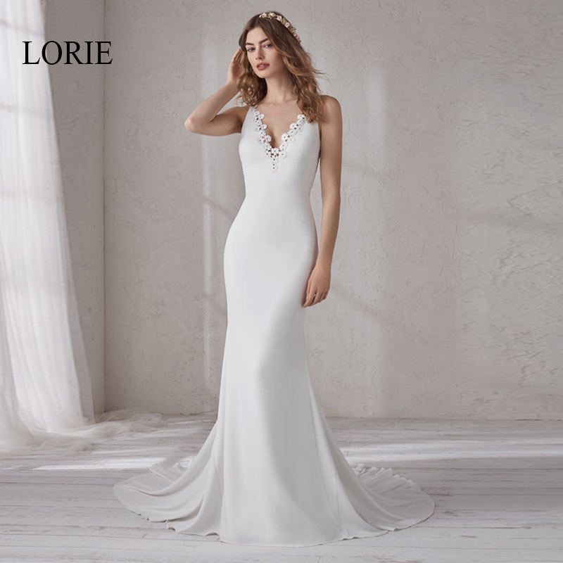 LORIE V Neck Mermaid Wedding Dress Soft Satin with Appliques Bridal Dresses Sleeveless Wedding Gowns Plus size vestido de noiva in Wedding Dresses from Weddings Events