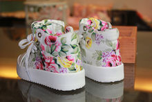 Sale Kids Shoes for Girl Fashion Children Shoes Casual Add Velvet Side Part Flower Floral Baby Kids High-top Canvas Sneaker