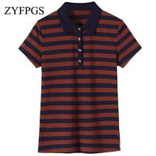 ZYFPGS 2019 Summer Women Stripes Short Sleeve POLO Shirt Female Clothing Fashion M-4XL Casual Slim Polos Hot Sale L0514