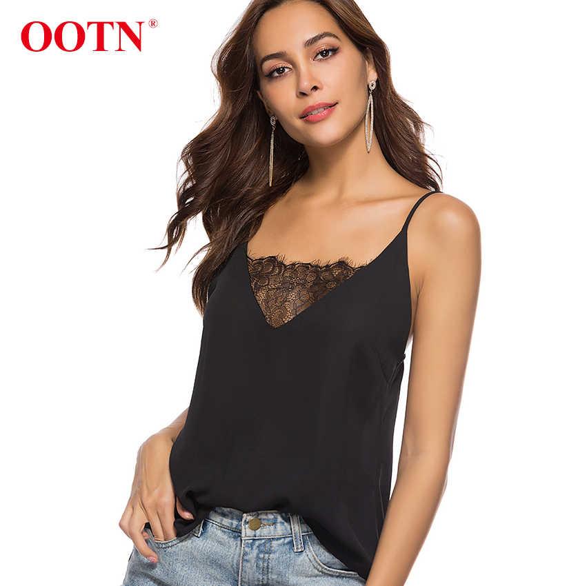 OOTN Chiffon Kant Tank Top Vrouwen Strap Crop Top Camis Vrouwelijke Mouwloze Sexy Zwart Wit Dunne Shirt Dames Hemdje Streetwear