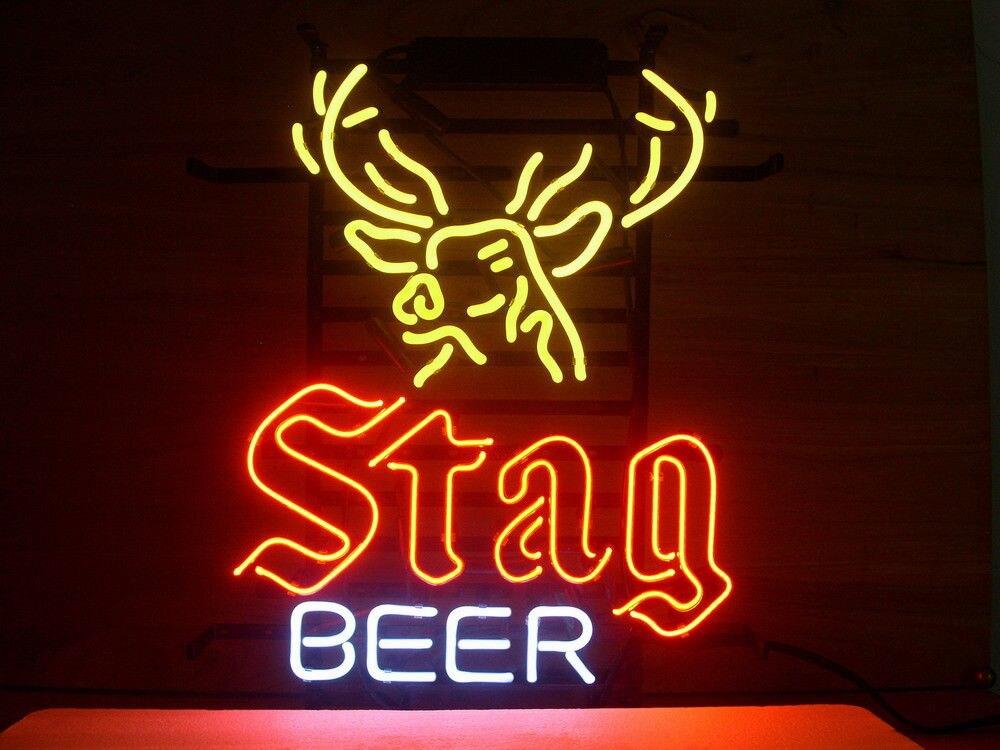 Signe de lumière au néon en verre de bière de cerf