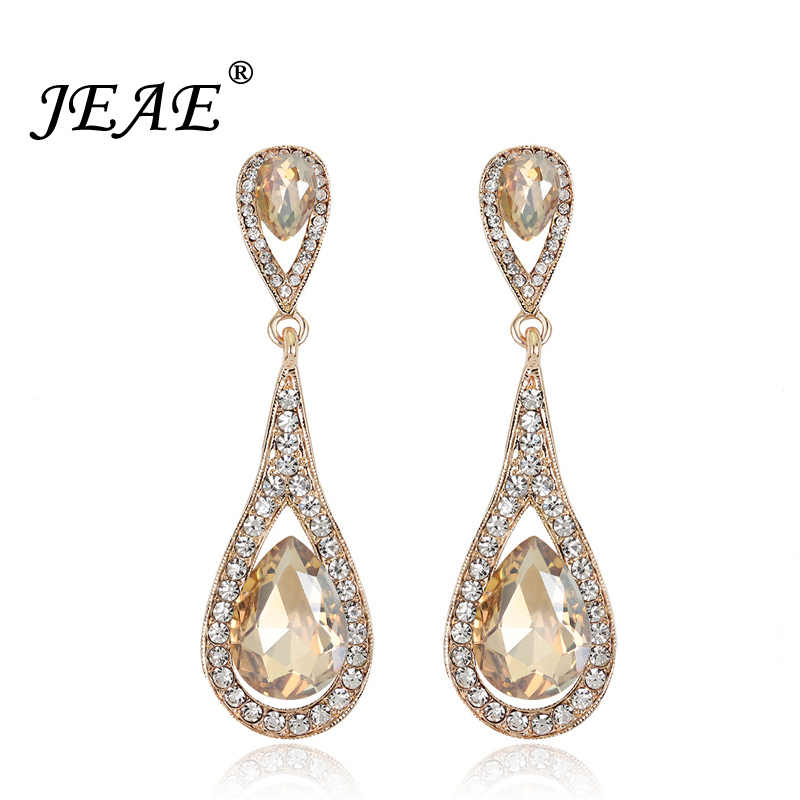 2018 Fashion Teardrop Champagne Crystal Wedding Earrings For Women Gold Silver Color Long Drop Earings Bridal Jewelry Brincos