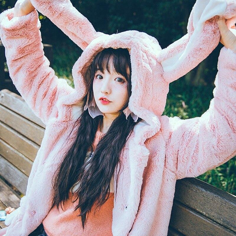 Nouvelles Femmes D'hiver de Bande Dessinée Manteaux Japonais Flanelle Kawaii Doux Lapin Longues Oreilles À Capuche Rose Hoodies Sœur Doux Filles Mignon Pardessus