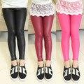 2015 crianças de moda calças da menina das crianças leggings 4-12 anos de miúdos calças de couro fino calças adolescentes bebê menina calça legging criança