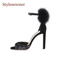 Stylesowner Rabbit fur decoration lady elegant peep toe sandal shoe ankle buckle strap red wedding shoe 10cm high heel lady pump