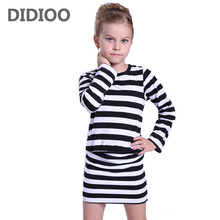 Girls Dresses 3 4 5 6 7 8 9 10 11 12 Years Spring Autumn Long Sleeve Stripe Dresses For Girls Clothes 2016 Baby Toddler Clothing цена и фото