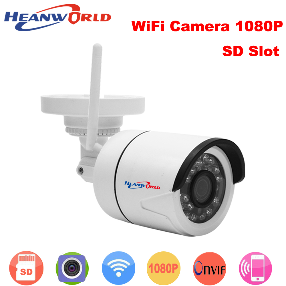 Heanworld outdoor 1080P IP Camera Wireless Wifi HD IR night vision Onvif waterproof security bullet network web camera outdoor 720p ip camera hd wireless wifi array ir night vision bullet onvif waterproof cctv security ip 1mp network web camera