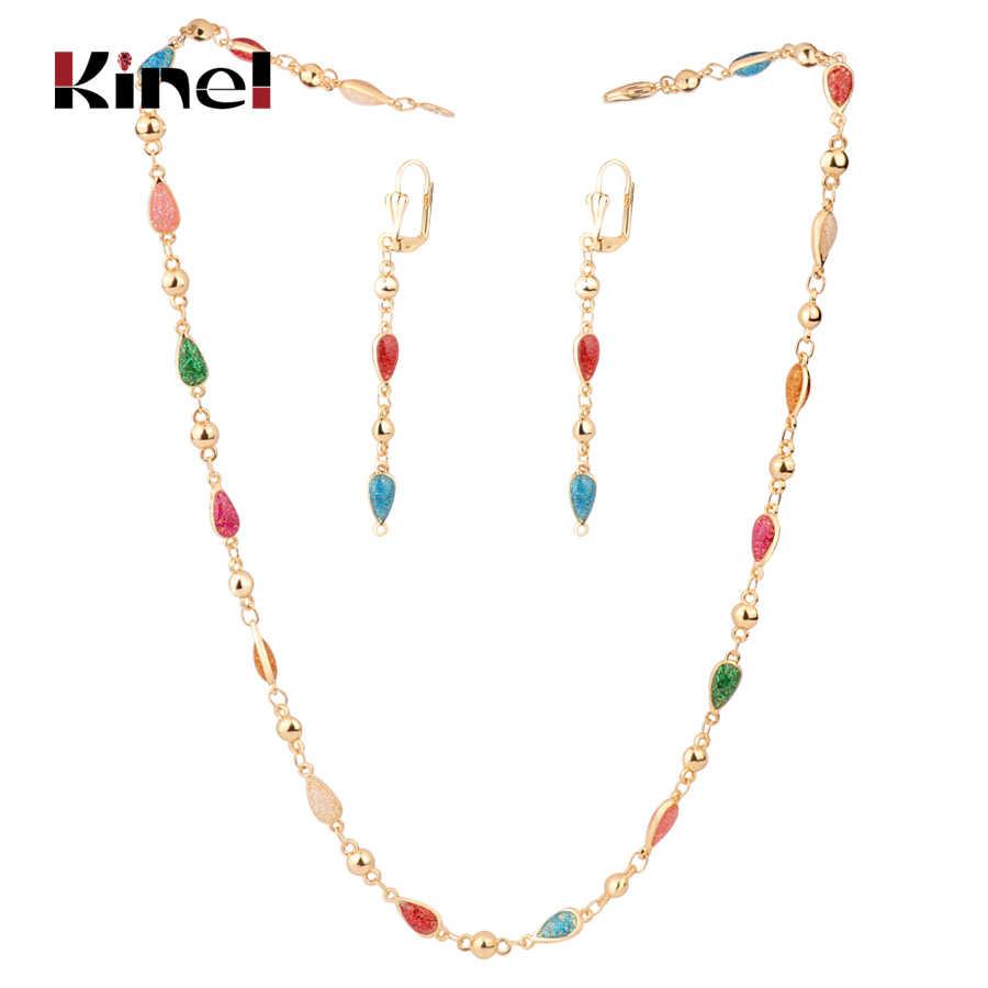 Kinel เคลือบฟันผู้หญิงเครื่องประดับชุดแฟชั่นดูไบ Gold Drop ต่างหูสร้อยคอสร้อยข้อมือ Vintage เครื่องประดับขายส่ง