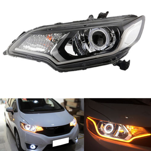 Headlight For honda Fit/Jazz Hatchback 15-16 With Xenon And LED Guide Light Bar 2pcs plant protection agricultural machine repair parts 30mm diameter of the carbon tube aluminum motor housing motor mount