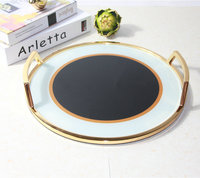 Nordic Luxury Home Accessories Hotel Model Room Soft Decoration Metal Mirror Tray Tempered Glass Tray