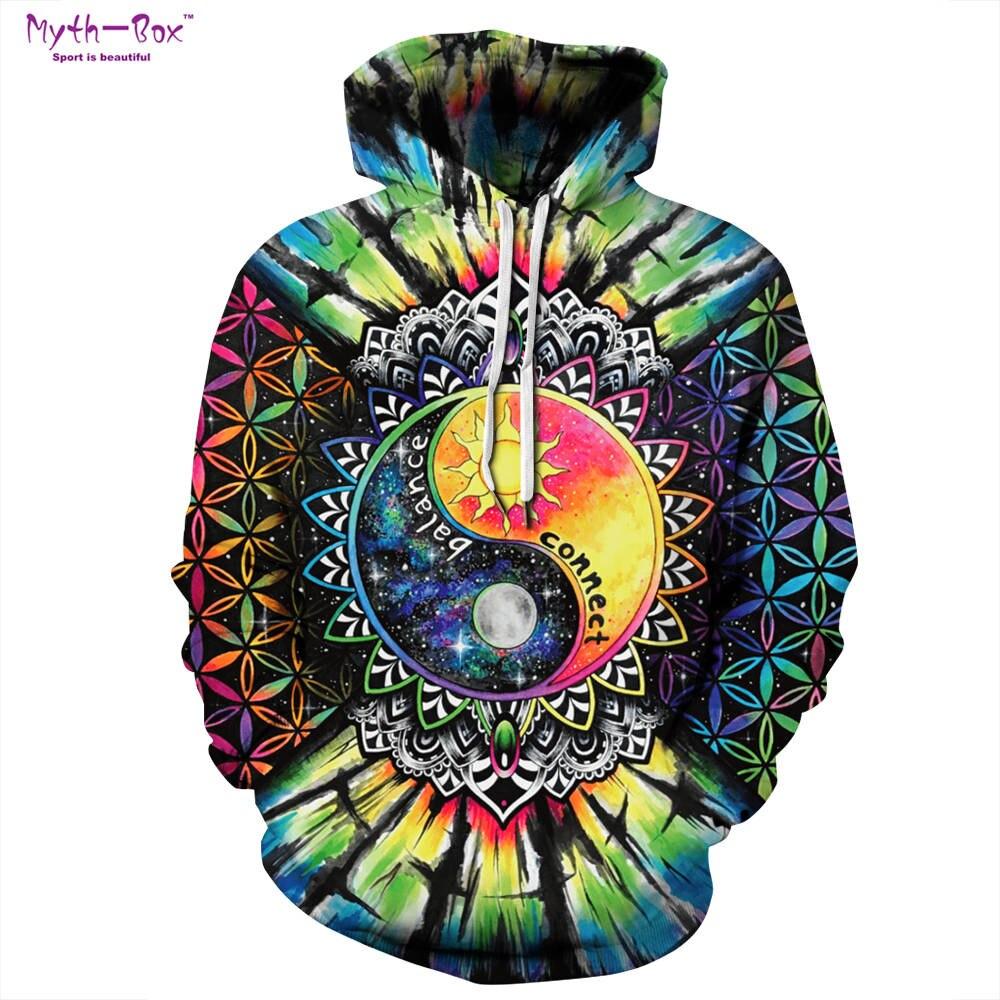 Для женщин/Для мужчин Athleisure свитер свободные спортивные Толстовки с капюшоном Taichi Инь-Ян 3D печати кофты S-XXXL одежда с длинным рукавом пуловер с капюшоном