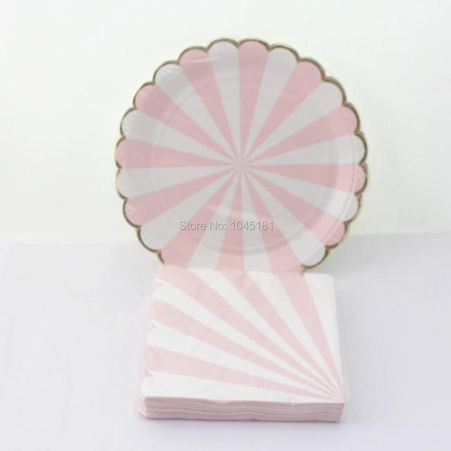 ipalmay Pastel Pink Paper Plates with Metallic Gold Scalloped EdgesPink Striped Party Paper Napkins & Aliexpress.com : Buy ipalmay Pastel Pink Paper Plates with Metallic ...
