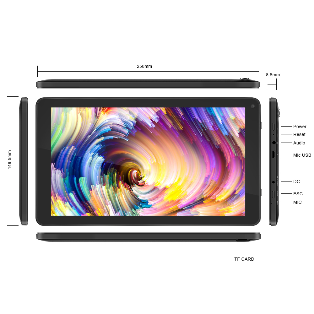 YUNTAB 10,1 tum D102 Android4.2 Tablet PC Allwinner A33 Quad Core CPU, 1024 * 600 HD-upplösning med Dual Camera 5500mAh-batteri