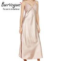 Burvogue Sexy Women V Neck Lace Nightdress Faux Silk Maxi Nightgowns Sleepwear Sleeveless Nighties Lingerie Long
