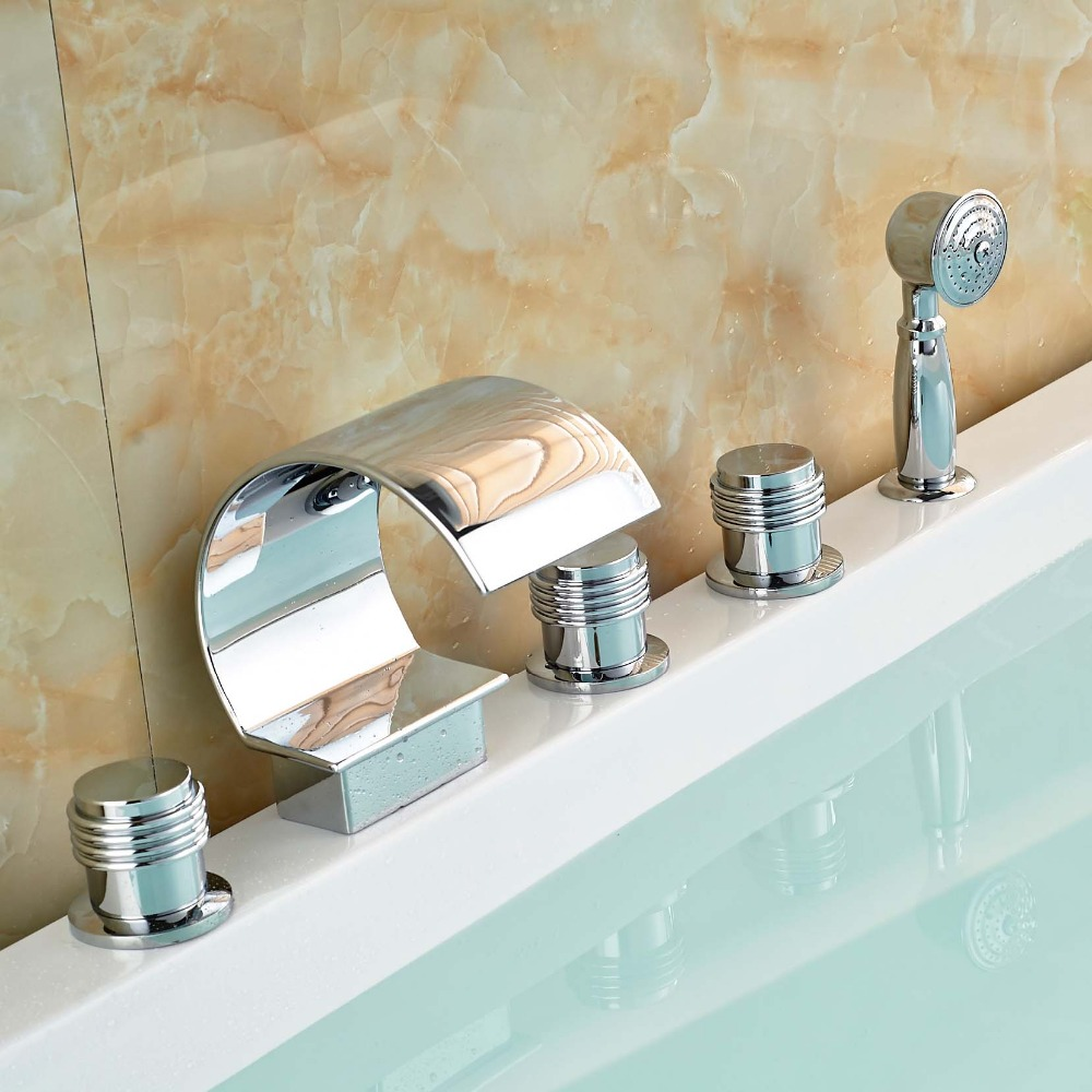 Polished Chrome Brass Waterfall Bathtub Faucet Deck Mount Bathroom Tub Water Taps with Hot Cold Water 5pcs