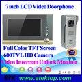 """Professional 7""""TFT Dual Intercom Hands-free Doorphone Wired Video Color Door Phone HD Popular Doorbell System Kit"""