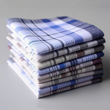 10Pcs/lot SHSEJA Classic Vintage Plaid Stripe Handkerchief Hanky Men Pocket Squares 100% Cotton Business Casual Chest Towel