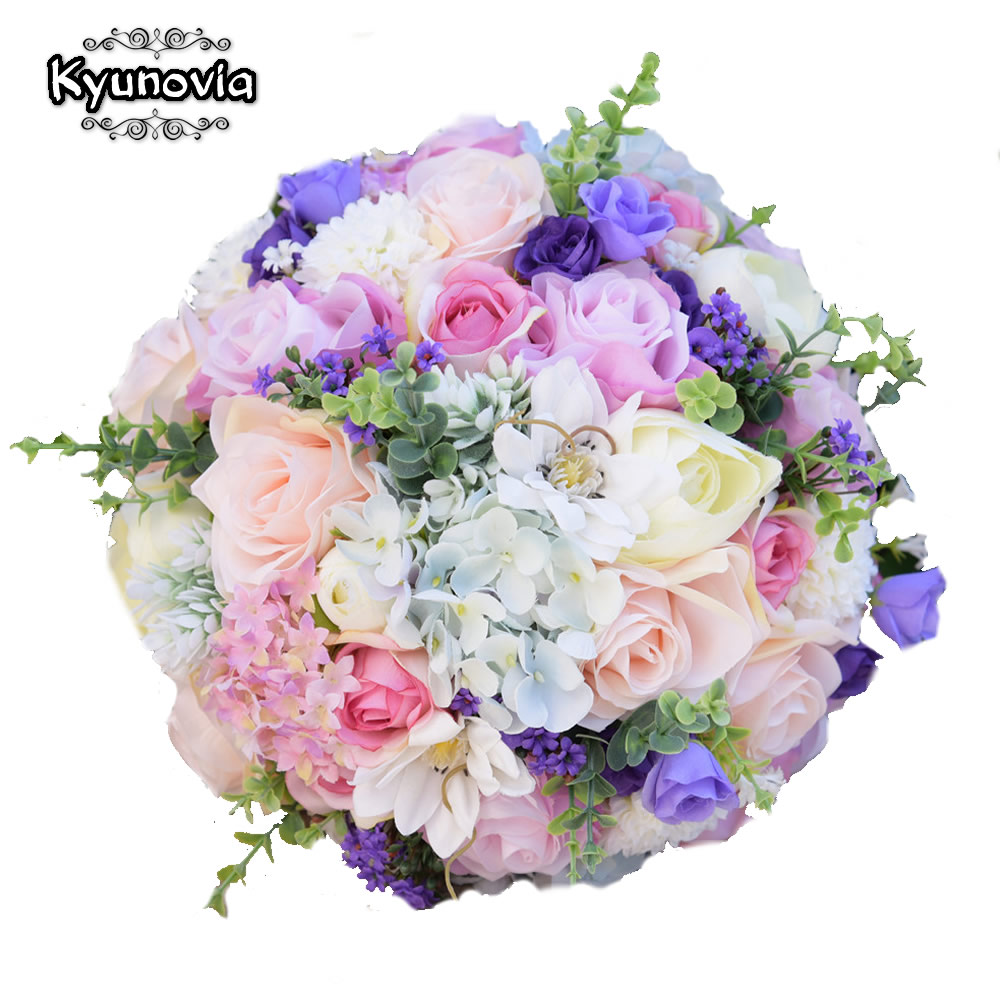 Kyunovia Silk Wedding Flowers Garden Bouquet Home Decor Bridesmaid Bouquets Roses Hydrangea Bridal 3 Sizes FE67