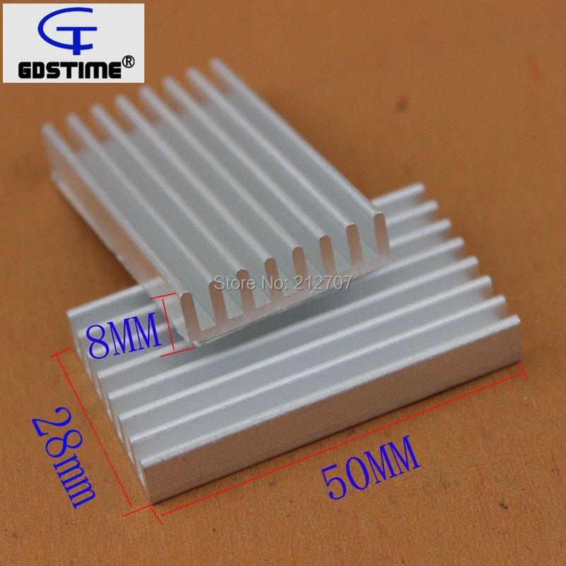 100Pcs Gdstime Aluminum Heatsink 50x28x8mm 50mm Electronic IC Chip Cooling Radiator Cooler