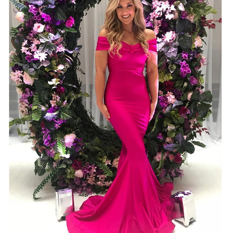 African Long Mermaid   Prom     Dresses   2019 Sexy Off The Shoulder Fuchsia   Dress   for Party Luxury Elastic Satin abiye gece elbisesi