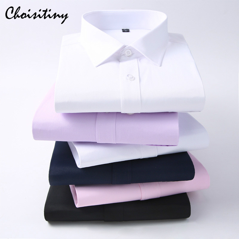 Brand Man's Solid Dress Shirts Business Gentleman Long-sleeves Spring and Autumn Casual Mens Shirts No Ironing
