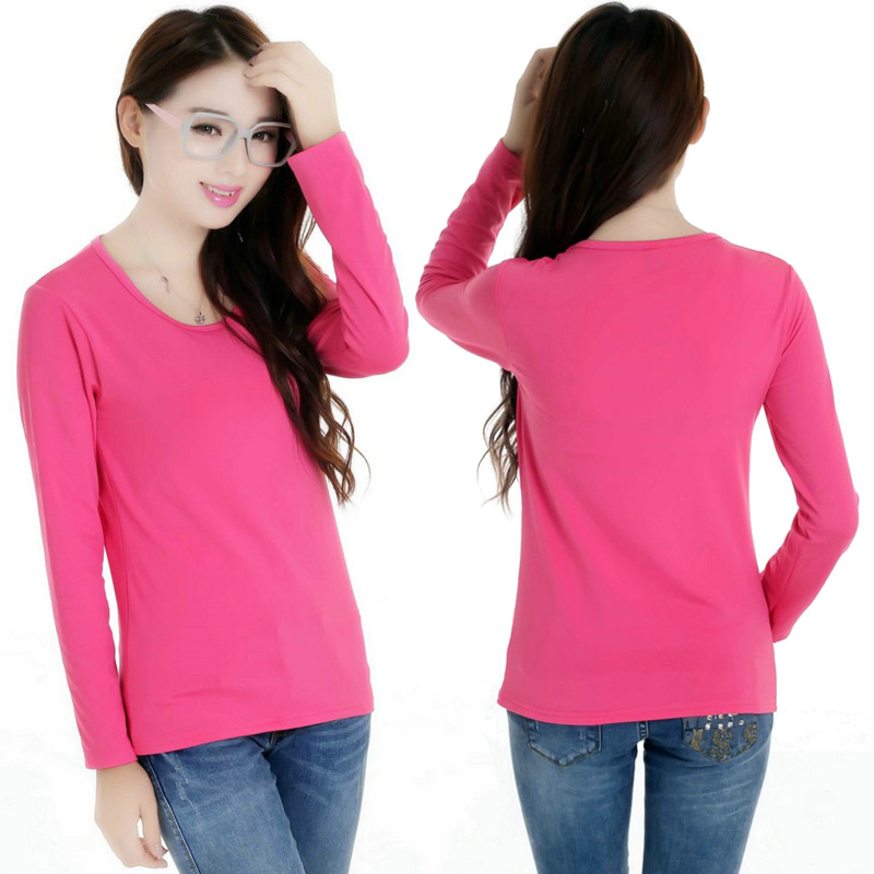 2019 Women's T-Shirts O-Neck Long-Sleeved Velvet Fleece T Shirts Casual Spring Autumn High Quality Clothes Female's Fashion Tops