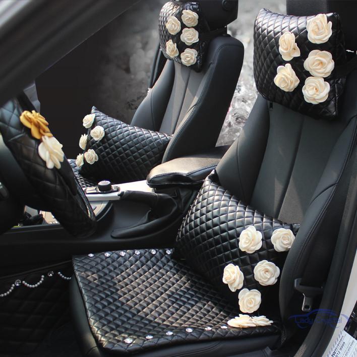 girls Black Rose women car accessories interior set for Audi Q5 Q3 Q7 for kia rio for mazda 6 cx-4 universal use