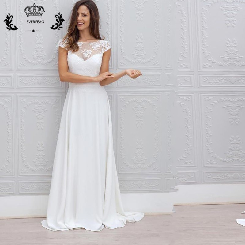 Simple A Line Wedding Dress: Sexy Beah Wedding Dresses White Long Lace Backless Simple