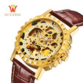 OUYAWEI Golden Watch Men Skeleton Automatic Mechanical Watch Stainless Steel Top Brands Luxury Man Watch Montre Homme Wristwatch