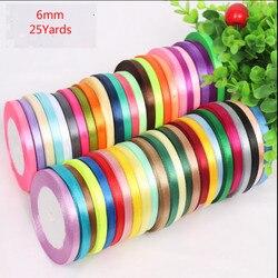 6mm 25 Yard/22meter Silk Satin Ribbon Wedding Decorative Gift Wrap Accessories DIY Handmade Materials