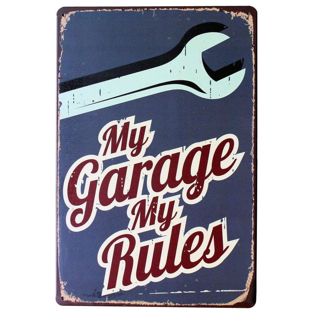 my garage my rules metal decor car sign vintage garage plaque mechnic tooling home retro plate. Black Bedroom Furniture Sets. Home Design Ideas