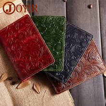 JOYIR Luxury Genuine Leather Passport Holder Wallet Women Cover Purse Brand Credit&Id Card Pouch Embossed Travel