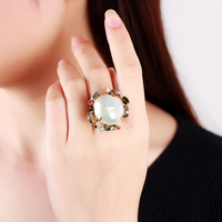 Venidy Brand Baroque Pearl Ring Inaly Natural Stone Tourmaline 925 Sterling Silver Rings For Women New
