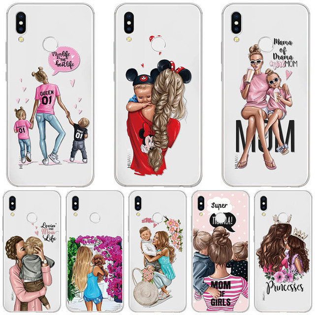 Black Brown Hair Baby Mom Girl Case For Huawei P Smart Plus P20 P30 2019 P10