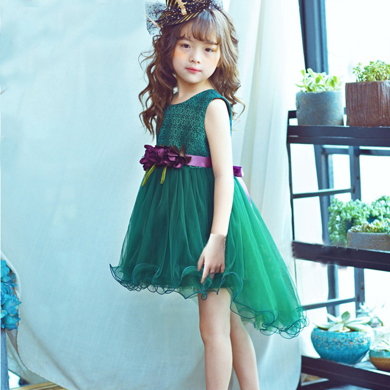 New 2019 Flower Children Little Girls Summer Green Pink Tutu Dress For Kids Girls Princess Dress Clothes 3 4 <font><b>5</b></font> 6 7 Years New image