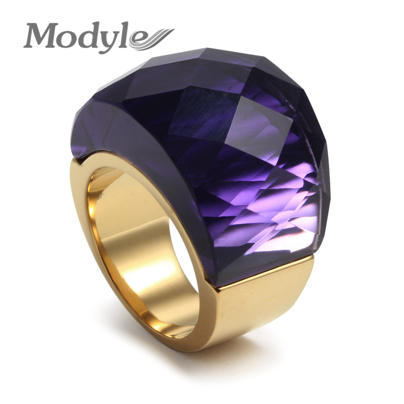 2016 new fashion women wedding rings stainless steel rings for women party jewelry nice stone ring wholesale - Stone Wedding Rings