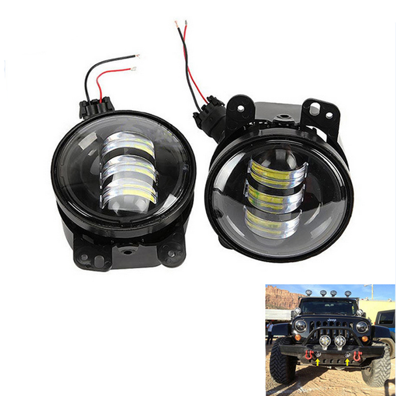 2PCS/Pair 4 Inch 30W LED Fog Light For Jeep Wrangler JK 07~14 High Power LED Fog Lamp Auto DRL Lighting Led Headlamp White funlight 30w 4 inch auto round led fog light with angle eye for jeep wrangler jk 2007 15