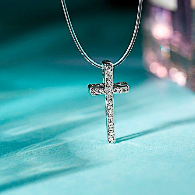 CZ Crystal Zircon Silver Cross Pendant  2