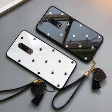 BONVAN For Meizu 15 16 16th Plus Case Lovely Heart Tempered Glass Cases m6 Note Tassel Lanyard Cover