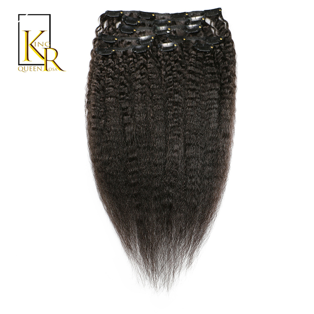 Kinky Straight Clip In Human Hair Extensions Natural Color 100 Remy